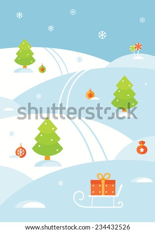 Winter Christmas Landscape with Hills, Snowflakes, Christmas Trees, Sledge, Decorations and Presents. Vector Flat Design - stock vector