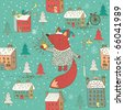 Winter Christmas pattern with cartoon fox - stock photo