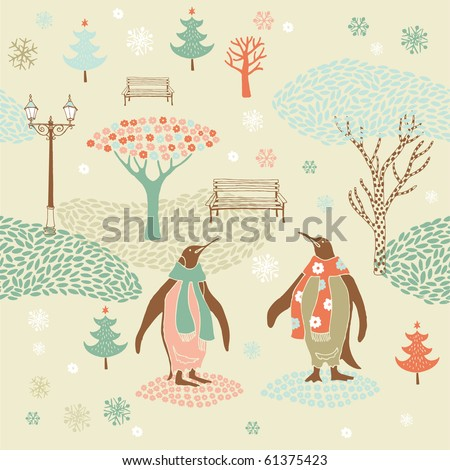 Winter Christmas pattern with penguins - stock vector