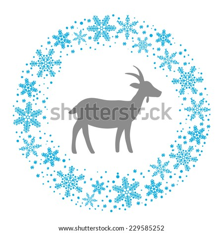 Winter Christmas Round Wreath with Snowflakes and Goat. Blue Grey and White Color Vector Illustration