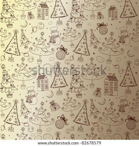 Winter Christmas seamless pattern - stock vector
