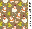 Winter Christmas seamless pattern with Santa and snowman - stock vector