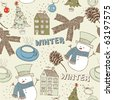 Winter Christmas seamless pattern with snowman - stock vector