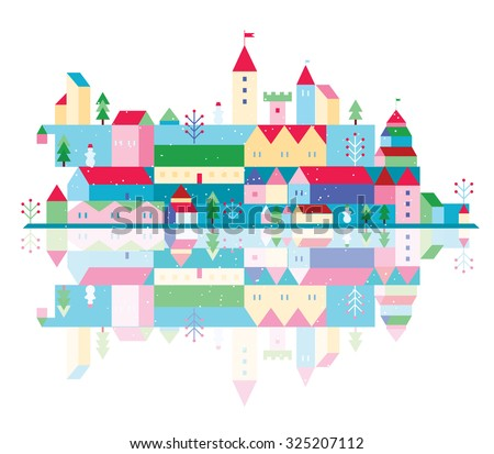 Winter Christmas town with fir trees and snowmen - stock vector