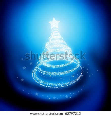 Winter Christmas Tree. Vector illustration. - stock vector