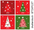 Winter Christmas Trees retro blocks collection - red & green - stock photo
