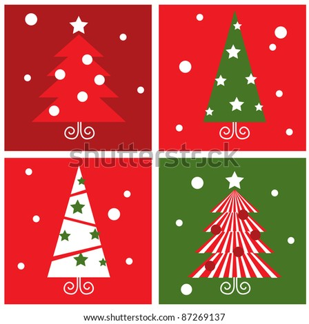 Winter Christmas Trees retro blocks collection - red & green - stock vector