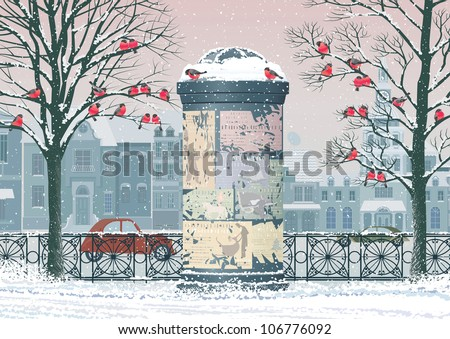 Winter cityscape with old advertising column, flocks of bullfinches perching on the trees and houses on the background - stock vector