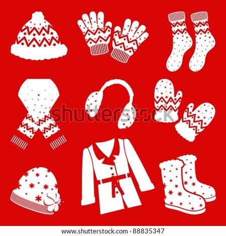 Winter clothes icon set - stock vector