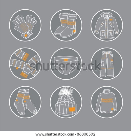 Winter clothes icon set - Circles with different types of winter accessories - stock vector