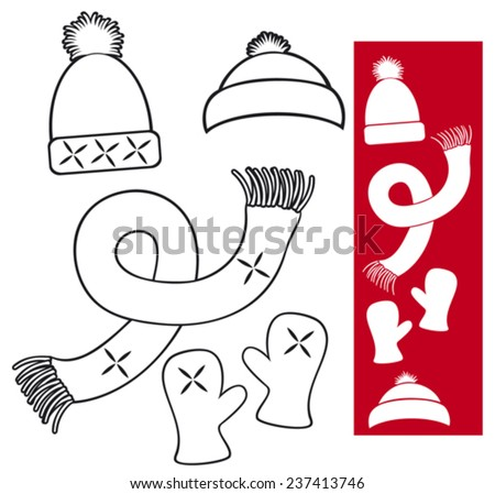 winter clothing - knitted hat, scarf and gloves collection - stock vector
