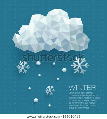 Winter cloud with snowflakes in polygonal geometric style. Vector illustration - stock vector