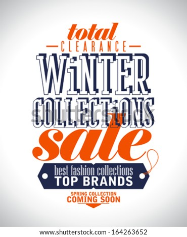 Winter collections sale poster in retro style. - stock vector
