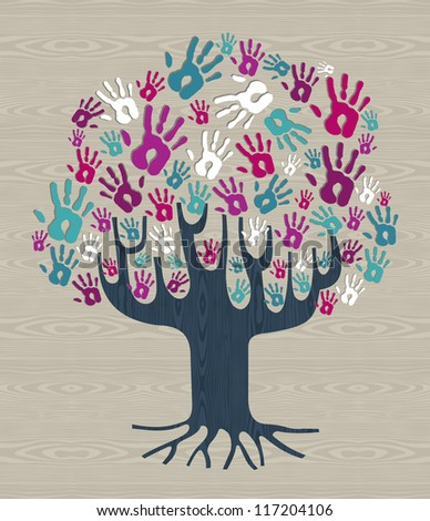 Winter colors diversity tree hands illustration for greeting card over wood pattern. Vector file layered for easy manipulation and custom coloring. - stock vector