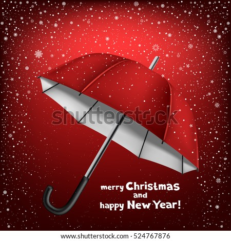 Winter dark red background with snow and opened umbrella. Lettering merry Christmas and happy New Year
