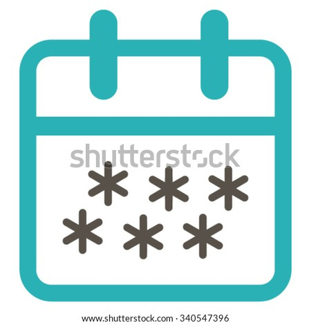 Winter Day vector icon. Style is bicolor flat symbol, grey and cyan colors, rounded angles, white background. - stock vector