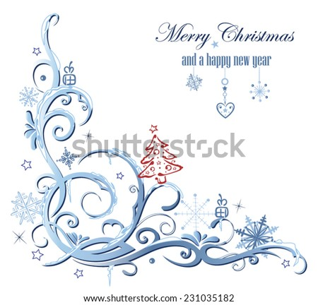 Winter decoration, snow and Christmas design - stock vector