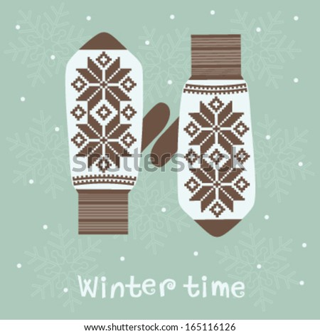 Winter decoration with knitted  mittens.  Vector - stock vector