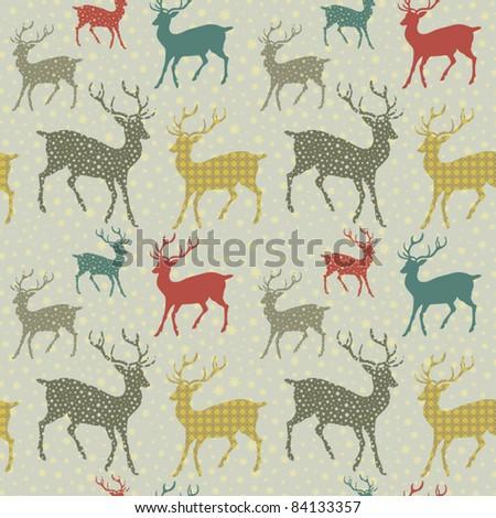 winter deer seamless background - stock vector