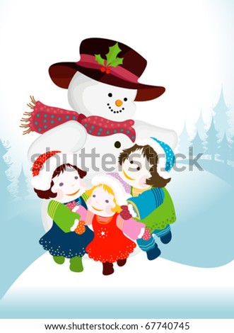 winter design with snowman and kids