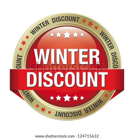 winter discount red gold button isolated background - stock vector