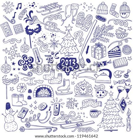 winter - doodles set - stock vector