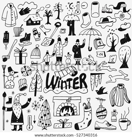 winter - doodles set