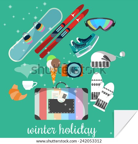 Winter equipment for sport and recreation. Flat design.  - stock vector