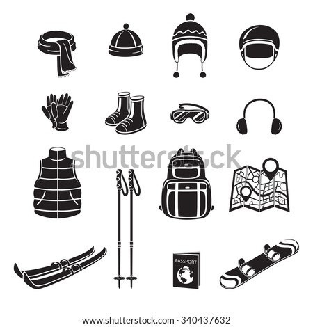 Winter Equipment Monochrome Icons Set, Equipment, Winter, Season, Vacation, holiday, Object, Activity, Travel - stock vector