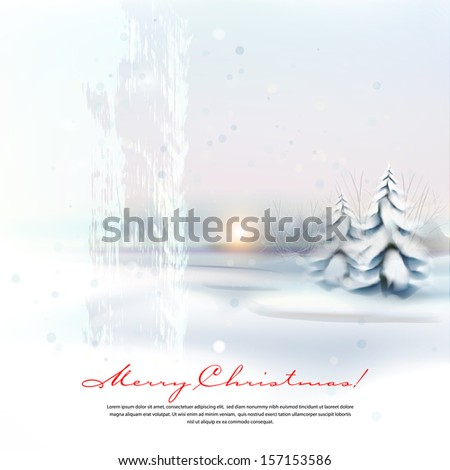 Winter evening landscape.The illustration contains transparency and effects. EPS10 - stock vector