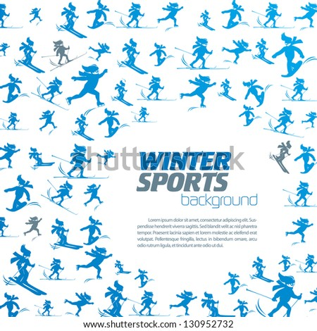 winter extreme sport pattern with place for your text - stock vector