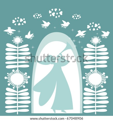 Winter fairy flower and angel, vector - stock vector