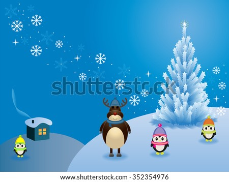 winter fairy forest. Christmas tree. Reindeer and penguins . Vector illustration - stock vector