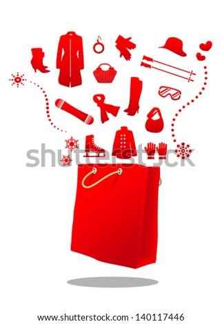 winter fashion sale bag - stock vector