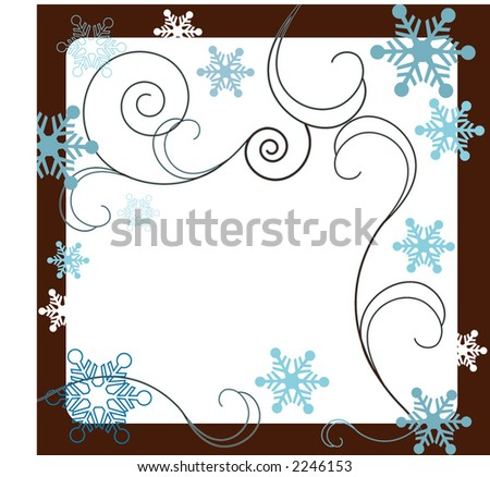 winter filigree with snowflake frame - stock vector