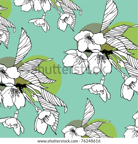 winter flowers pattern - stock vector
