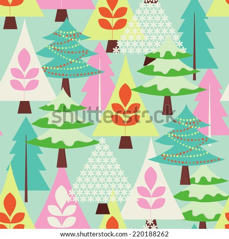 Winter fores - seasonal vector background (seamless pattern) - stock vector