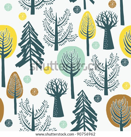 Winter forest - stock vector