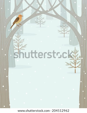 Winter forest background for your design. - stock vector