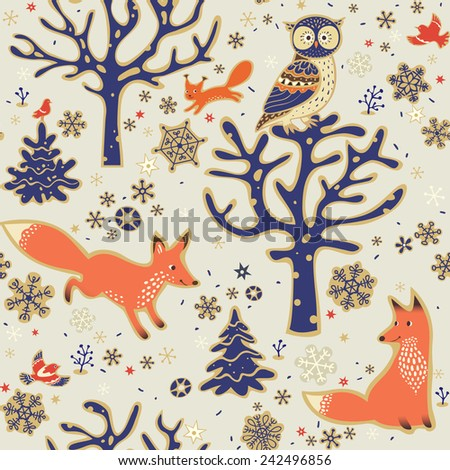 Winter forest background. Seamless pattern with owl, foxes, squirrel, birds, trees and snowflakes. Vector illustration. - stock vector