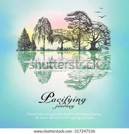 Winter forest border trees reflection on the surface of the frozen lake hand drawn abstract vector illustration - stock vector
