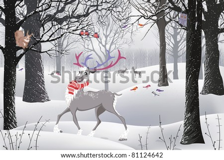 Winter forest in which there are a reindeer, a squirrel sitting on a tree and birds - stock vector