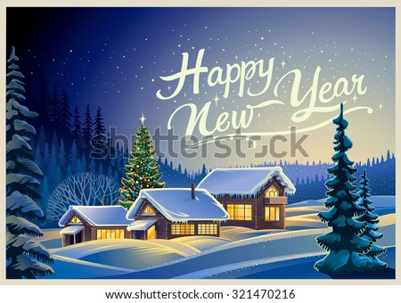 Winter forest landscape with houses and Christmas tree. - stock vector