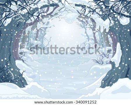 Winter forest landscape with trees  - stock vector