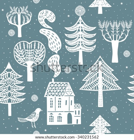 Winter forest.Seamless pattern - stock vector
