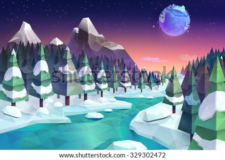 Winter forest, vector background low poly style - stock vector