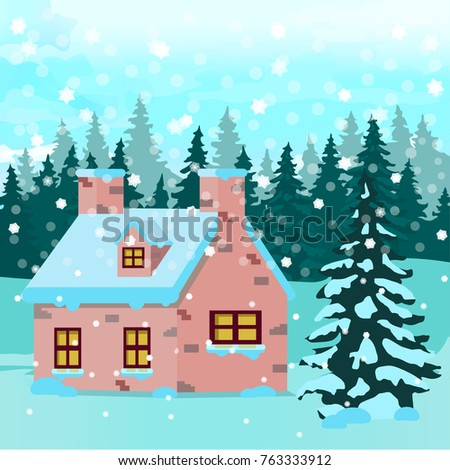 Winter Forest With Christmas House Fir Tree Frozen Nature Wallpaper Snowflakes Greeting Card Or