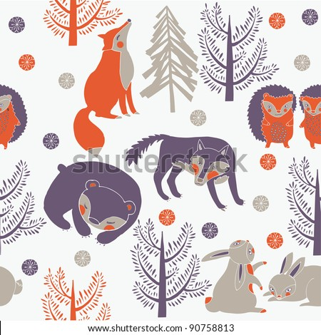 Winter forest with cute animals - stock vector