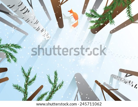 Winter forest with trees and fox seen from above. Blank space for your text. EPS10 - stock vector