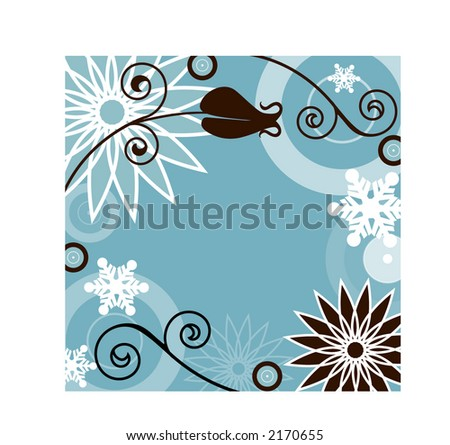 winter frame with filigree blue and brown - stock vector